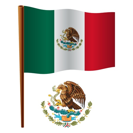 flag of mexico: united mexican states wavy flag and coat of arm against white background, vector art illustration, image contains transparency