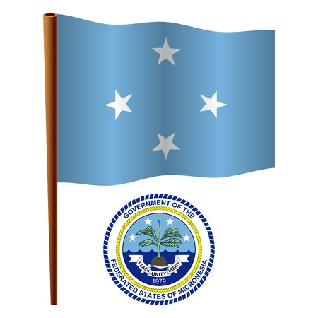 micronesia wavy flag and coat of arm against white background, vector art illustration, image contains transparency