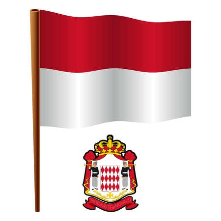 monaco wavy flag and coat of arm against white background, vector art illustration, image contains transparency Vector