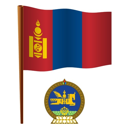 mongolia wavy flag and coat of arm against white background, vector art illustration, image contains transparency