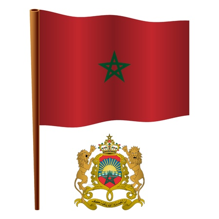 morocco wavy flag and coat of arm against white background, vector art illustration, image contains transparency