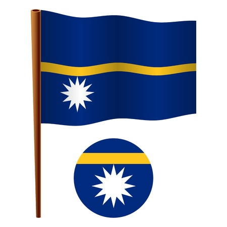 nauru wavy flag and icon against white background, vector art illustration, image contains transparency
