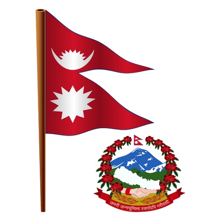 nepal wavy flag and coat of arm against white background, vector art illustration, image contains transparency
