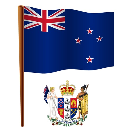 new zealand wavy flag and coat of arms against white background, vector art illustration, image contains transparency Vector