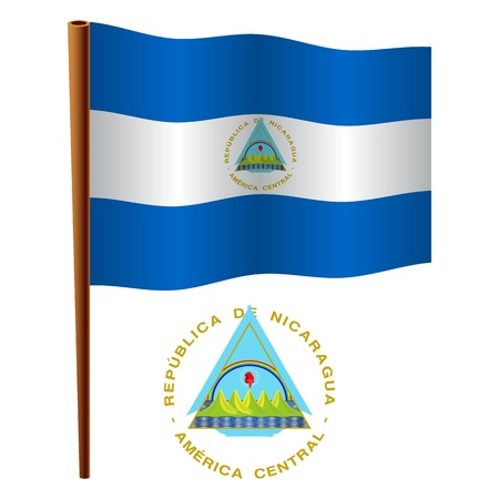 nicaragua wavy flag and coat of arms against white background, vector art illustration, image contains transparency Vector