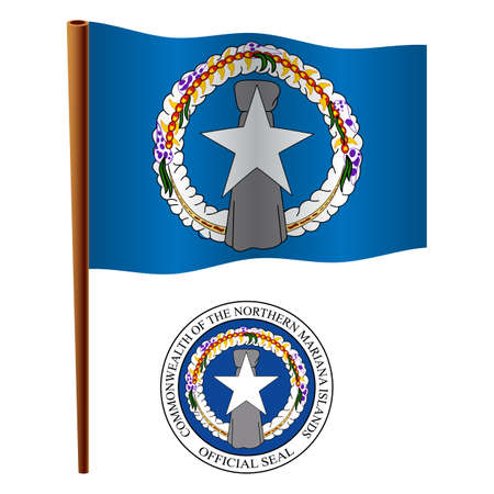 northern mariana island wavy flag and coat of arm against white background, vector art illustration, image contains transparency