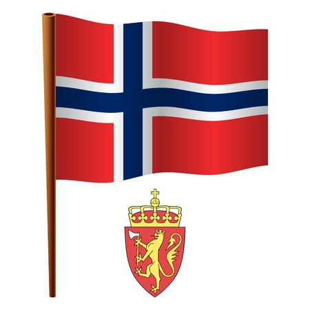 norway wavy flag and coat of arm against white background, vector art illustration, image contains transparency Illustration