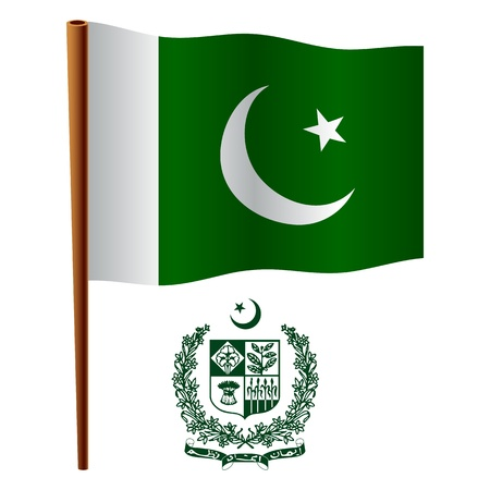 pakistan wavy flag and coat of arm against white background, vector art illustration, image contains transparency Stock Vector - 19466421