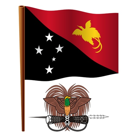 papua new guinea wavy flag and coat of arm against white background, vector art illustration, image contains transparency Illustration