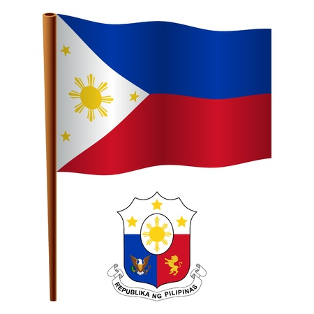 philippines wavy flag and coat of arm against white background, vector art illustration, image contains transparency 向量圖像
