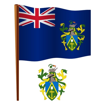 pitcairn islands wavy flag and coat of arm against white background, vector art illustration, image contains transparency