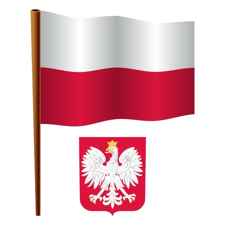 white coat: poland wavy flag and coat of arm against white background, vector art illustration, image contains transparency