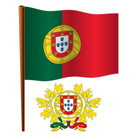 portugal wavy flag and coat of arm against white background, vector art illustration, image contains transparency 向量圖像