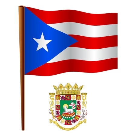 puerto rico wavy flag and coat of arm against white background, vector art illustration, image contains transparency Vector