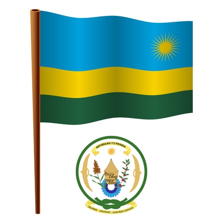 white coat: rwanda wavy flag and coat of arm against white background, vector art illustration, image contains transparency