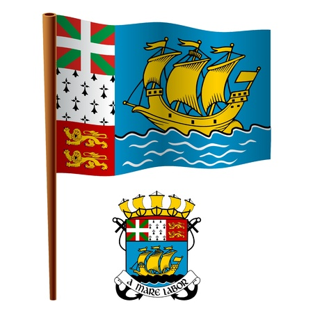 saint pierre and miquelon wavy flag and coat of arm against white background, vector art illustration, image contains transparency Stock Vector - 19466551