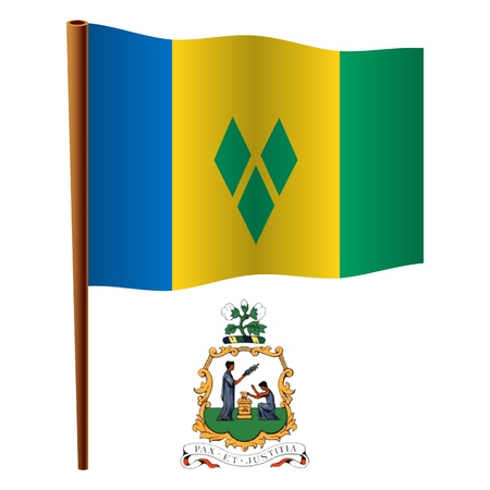 grenadines: saint vincent and the grenadines wavy flag and coat of arm against white background, vector art illustration, image contains transparency