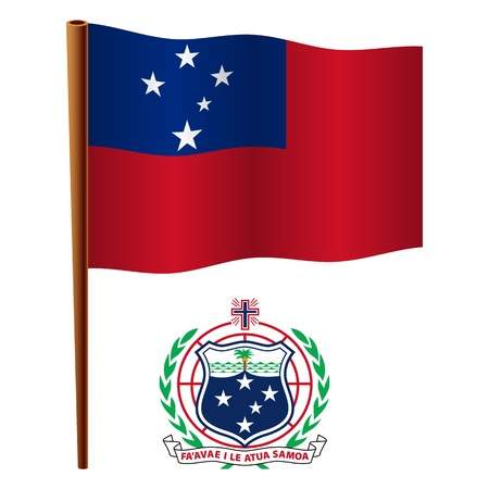 samoa wavy flag and coat of arm against white background, vector art illustration, image contains transparency  イラスト・ベクター素材