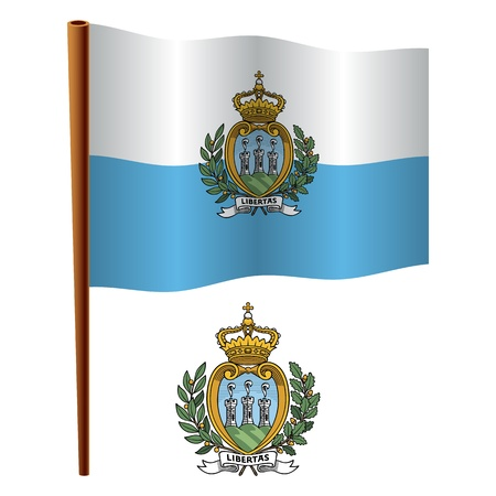 san marino: san marino wavy flag and coat of arm against white background, vector art illustration, image contains transparency