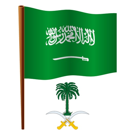 saudi arabia wavy flag and coat of arm against white background, vector art illustration, image contains transparency Vector