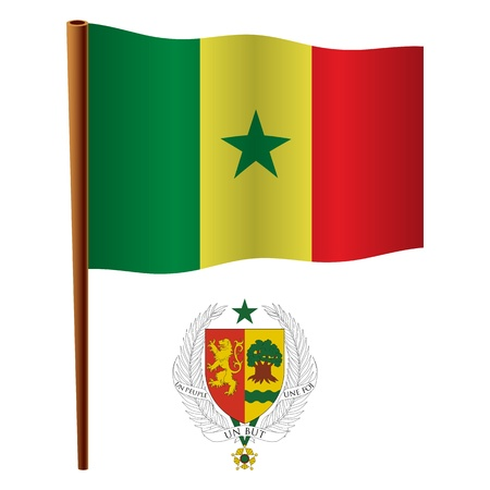senegal wavy flag and coat of arm against white background, vector art illustration, image contains transparency