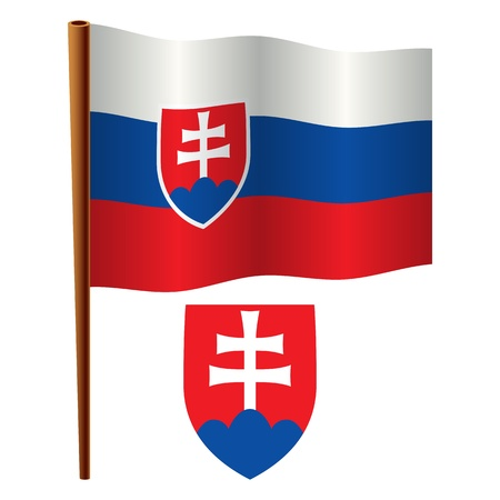 slovakia wavy flag and coat of arm against white background, vector art illustration, image contains transparency Vector