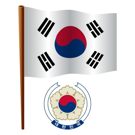south korea wavy flag and coat of arm against white background, vector art illustration, image contains transparency Vector