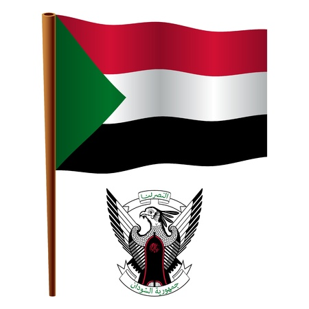 flagpole: sudan wavy flag and coat of arm against white background, vector art illustration, image contains transparency Illustration