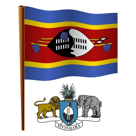 swaziland wavy flag and coat of arm against white background, vector art illustration, image contains transparency