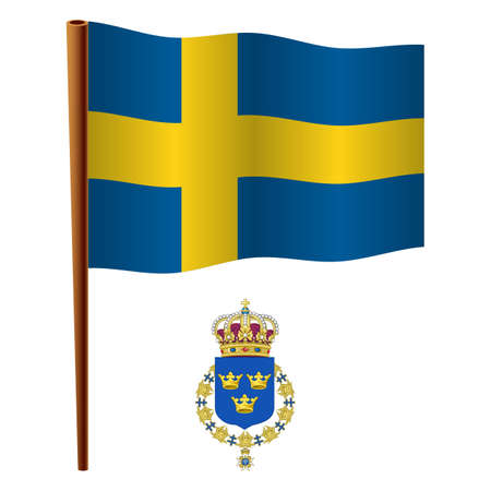 sweden wavy flag and coat of arm against white background, vector art illustration, image contains transparency  イラスト・ベクター素材