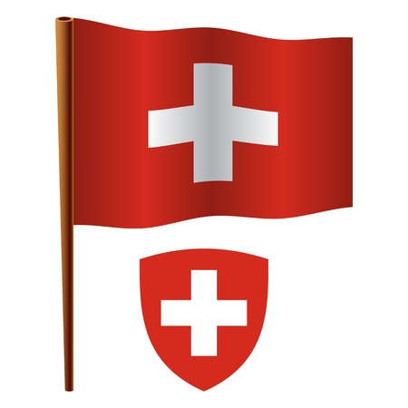 switzerland wavy flag and coat of arm against white background, vector art illustration, image contains transparency Illustration