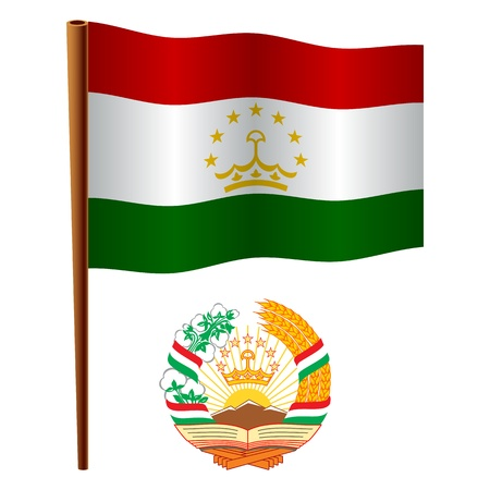 tajikistan wavy flag and coat of arm against white background, vector art illustration, image contains transparency Stock Vector - 19463541