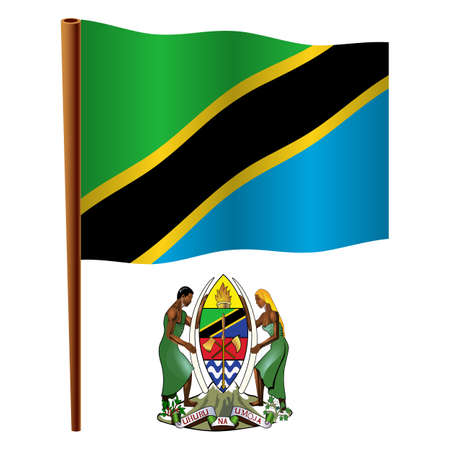 tanzania wavy flag and coat of arm against white background, vector art illustration, image contains transparency Illustration