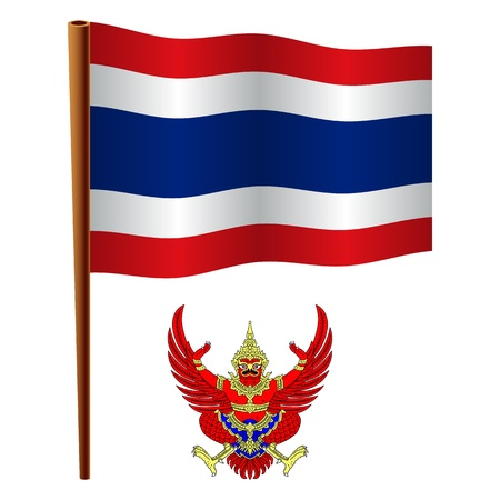 thailand wavy flag and coat of arm against white background, vector art illustration, image contains transparency Vector