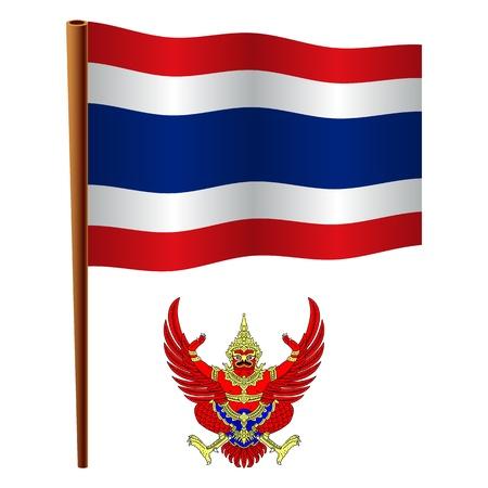 Thailandia bandiera ondulata e cappotto di braccio su sfondo bianco, illustrazione vettoriale arte, immagine contiene trasparenza Archivio Fotografico - 19466526