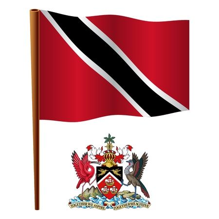 trinidad and tobago wavy flag and coat of arm against white background, vector art illustration, image contains transparency Illustration