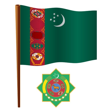 turkmenistan: turkmenistan wavy flag and coat of arm against white background, vector art illustration, image contains transparency Illustration