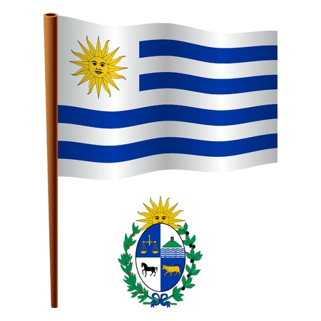 uruguay wavy flag and coat of arm against white background, vector art illustration, image contains transparency