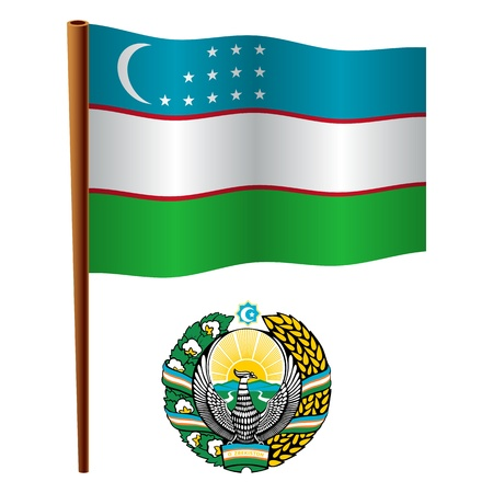 uzbekistan: uzbekistan wavy flag and coat of arm against white background, vector art illustration, image contains transparency