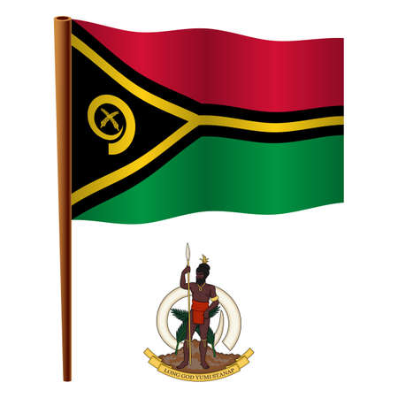 vanuatu wavy flag and coat of arm against white background, vector art illustration, image contains transparency