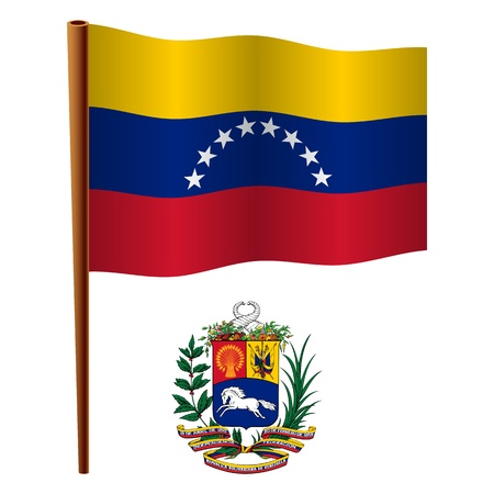 venezuela wavy flag and coat of arm against white background, vector art illustration, image contains transparency Vector