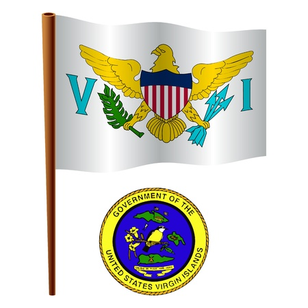 virgin islands wavy flag and coat of arm against white background, vector art illustration, image contains transparency Vector