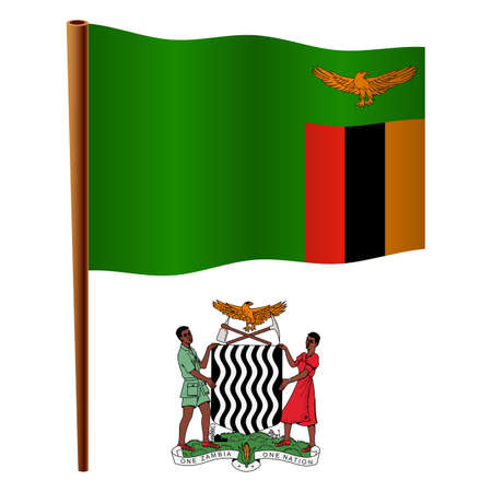 zambia wavy flag and coat of arm against white background, vector art illustration, image contains transparency