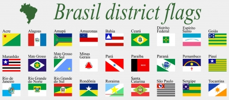 acre: brasil districts flags complete collection against gray background, abstract art illustration Illustration