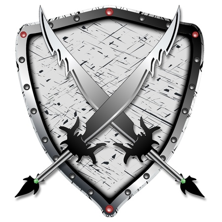 heraldic design with shadowed swords and shield against white background, abstract art illustration, image contains transparency Vector