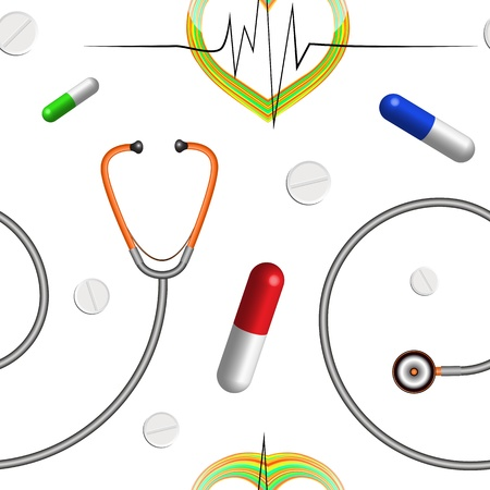 stethascope: medical pattern with stethoscope, heart graph and pills, abstract seamless texture, vector art illustration