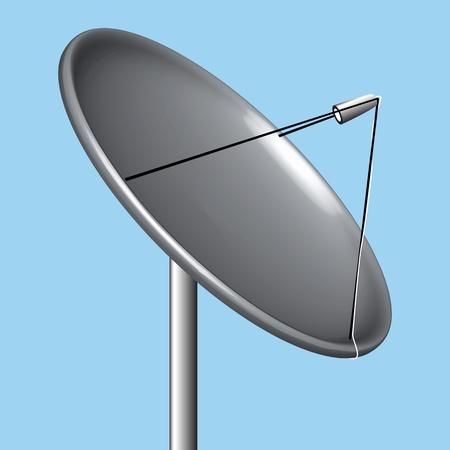 satellite dish over blue background, abstract art illustration