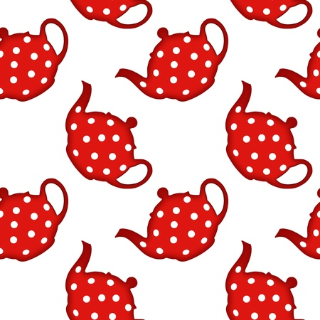 red tea pot pattern, abstract seamless texture, art illustration, image contains transparency Vector