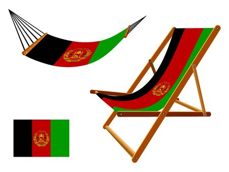 vacances: Afghanistan hammock and deck chair set against white background, abstract art illustration