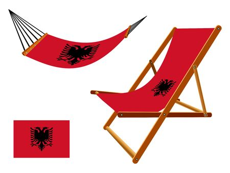 vacances: albania hammock and deck chair set against white background, abstract vector art illustration Illustration